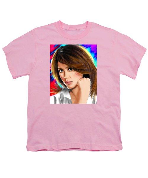 Jessica Alba Youth T-Shirt by Isaac Martinez
