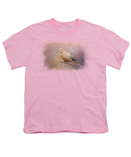 Mourning Dove On A Winter Evening Youth T-Shirt by Jai Johnson