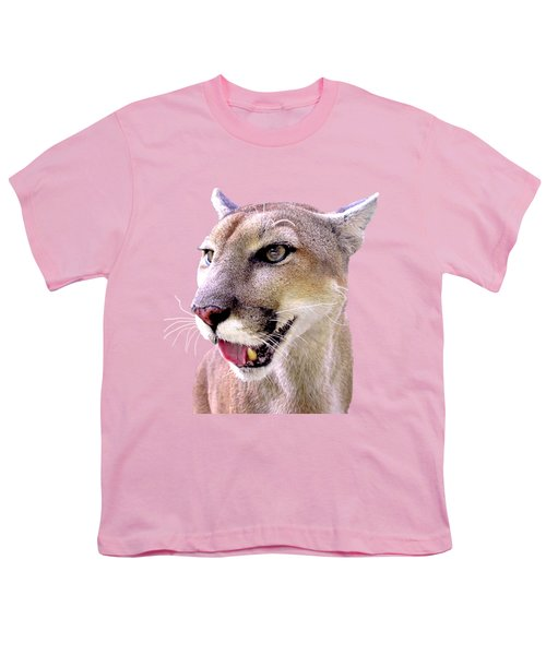 Panther Portrait Transparent Youth T-Shirt by Sabrina Wheeler