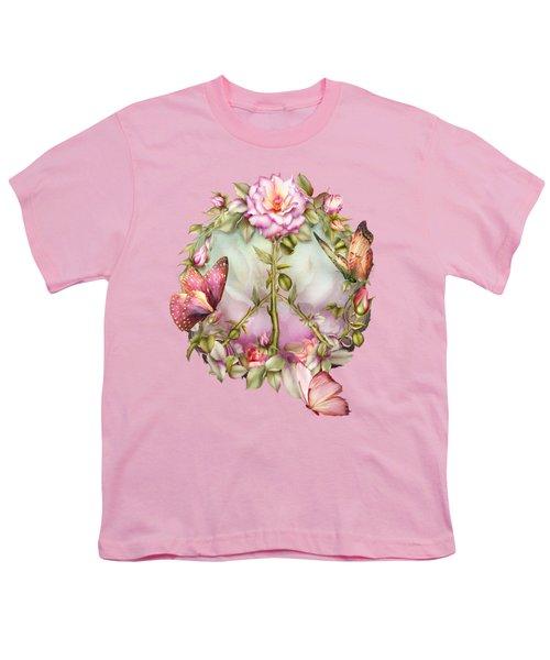 Peace Rose Youth T-Shirt by Carol Cavalaris