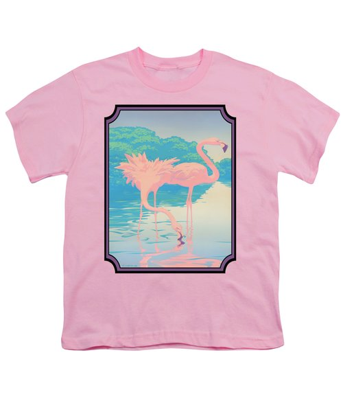 Pink Flamingos Abstract Retro Pop Art Nouveau Tropical Bird Art 80s 1980s Florida Decor Youth T-Shirt by Walt Curlee