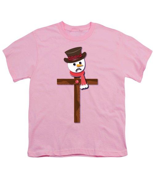 Snowman Christian Cross Youth T-Shirt by Reggie Hart