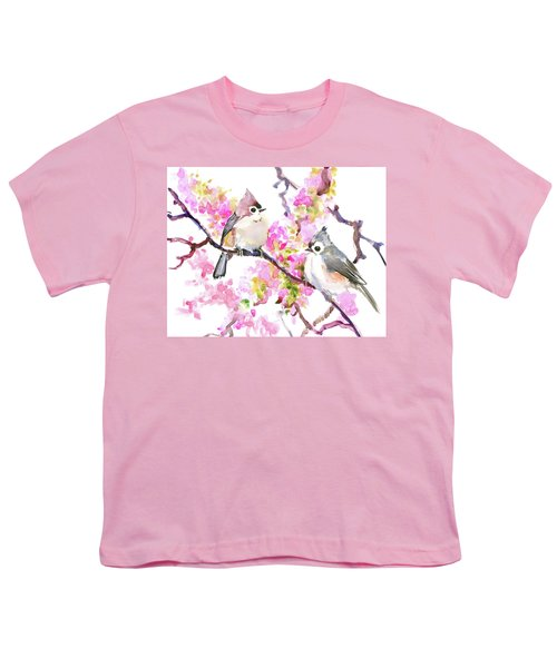 Titmice And Cheery Blossom Youth T-Shirt by Suren Nersisyan