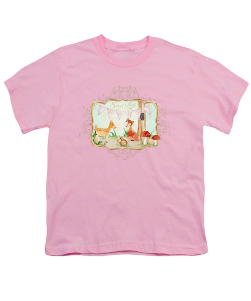 Woodland Fairytale - Banner Sweet Little Baby Youth T-Shirt by Audrey Jeanne Roberts