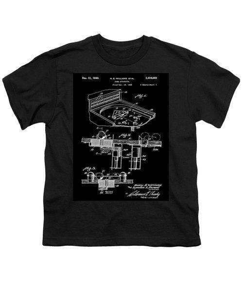 Pinball Machine Patent 1939 - Black Youth T-Shirt by Stephen Younts