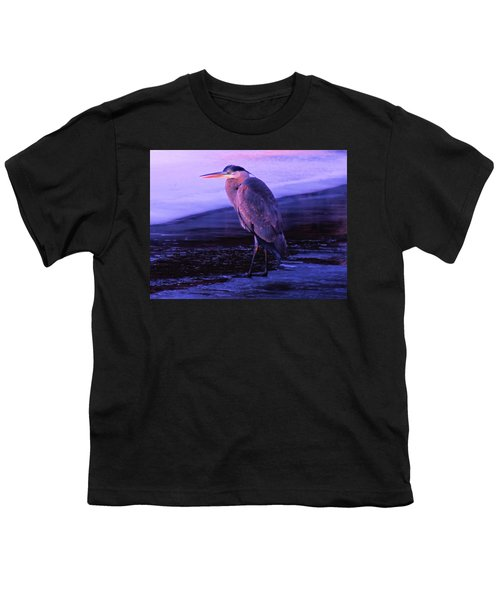 A Heron On The Moyie River Youth T-Shirt by Jeff Swan