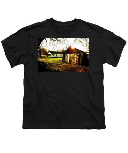 American Fabric   Mickey Mantle's Childhood Home Youth T-Shirt by Iconic Images Art Gallery David Pucciarelli