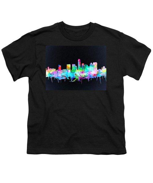 Austin Texas Skyline Watercolor 3 Youth T-Shirt by Bekim Art