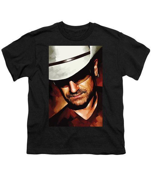 Bono U2 Artwork 3 Youth T-Shirt by Sheraz A