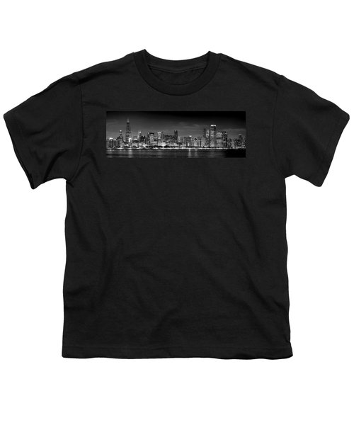 Chicago Skyline At Night Black And White Youth T-Shirt by Jon Holiday
