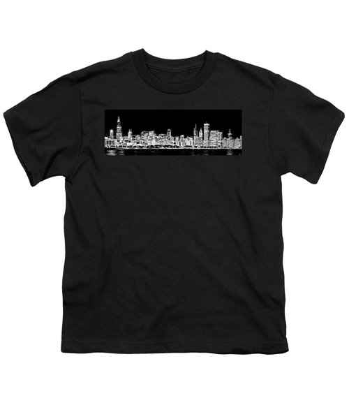 Chicago Skyline Fractal Black And White Youth T-Shirt by Adam Romanowicz