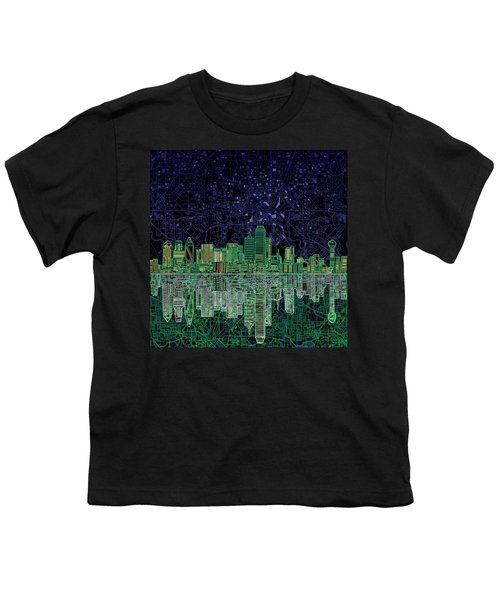 Dallas Skyline Abstract 4 Youth T-Shirt by Bekim Art