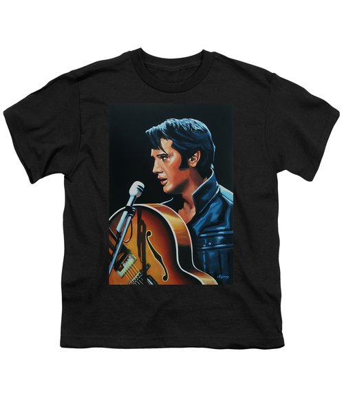 Elvis Presley 3 Painting Youth T-Shirt by Paul Meijering