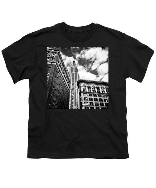 Empire State Building And New York City Skyline Youth T-Shirt by Vivienne Gucwa