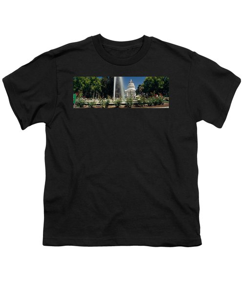 Fountain In A Garden In Front Youth T-Shirt by Panoramic Images