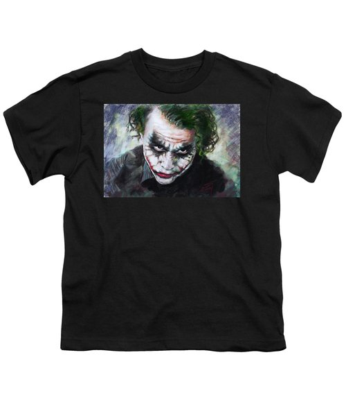Heath Ledger The Dark Knight Youth T-Shirt by Viola El