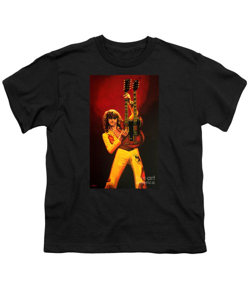 Jimmy Page Painting Youth T-Shirt by Paul Meijering