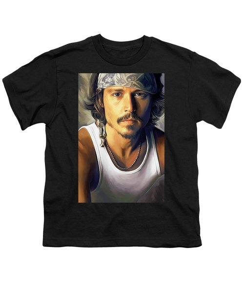 Johnny Depp Artwork Youth T-Shirt by Sheraz A