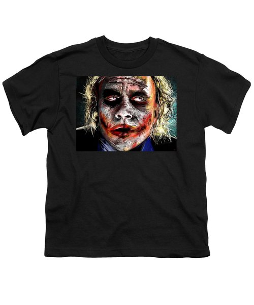 Joker Painting Youth T-Shirt by Daniel Janda