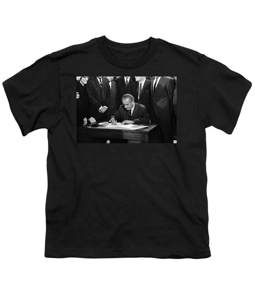 Lbj Signs Civil Rights Bill Youth T-Shirt by Underwood Archives Warren Leffler