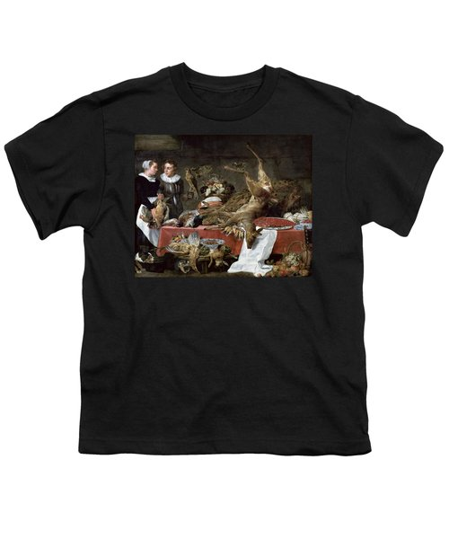 Le Cellier Oil On Canvas Youth T-Shirt by Frans Snyders or Snijders
