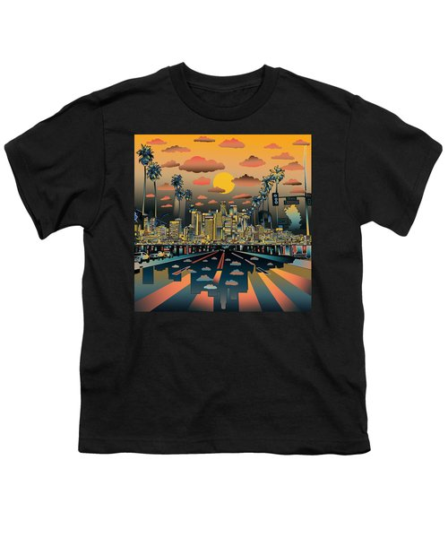 Los Angeles Skyline Abstract 2 Youth T-Shirt by Bekim Art