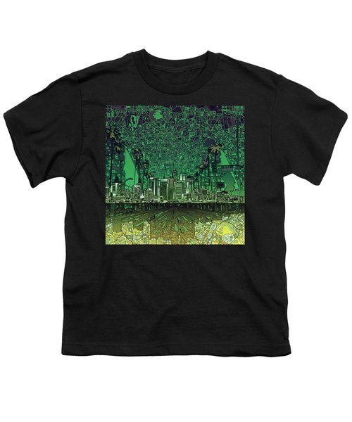 Los Angeles Skyline Abstract 6 Youth T-Shirt by Bekim Art
