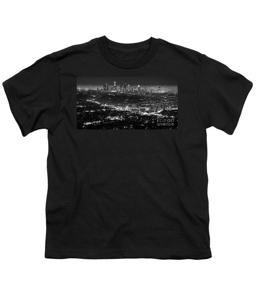 Los Angeles Skyline At Night Monochrome Youth T-Shirt by Bob Christopher