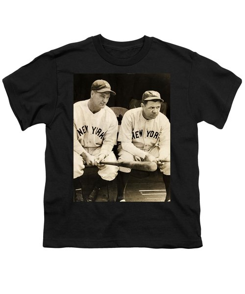 Lou Gehrig And Babe Ruth Youth T-Shirt by Bill Cannon