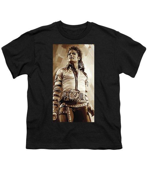Michael Jackson Artwork 2 Youth T-Shirt by Sheraz A