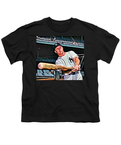 Mickey Mantle Painting Youth T-Shirt by Florian Rodarte
