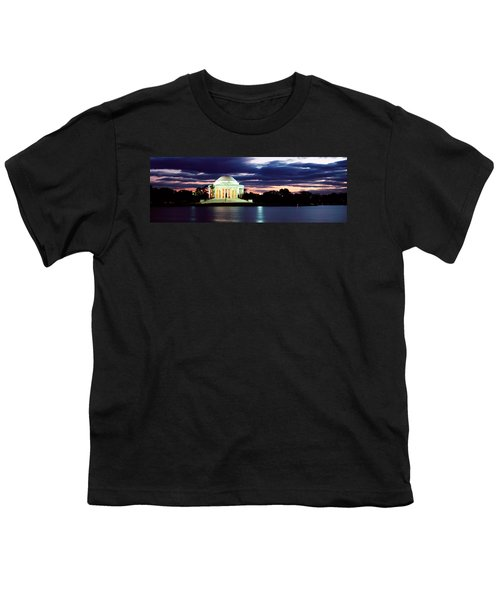 Monument Lit Up At Dusk, Jefferson Youth T-Shirt by Panoramic Images
