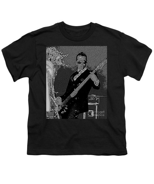 Bass Player Art Bw Youth T-Shirt by Lesa Fine