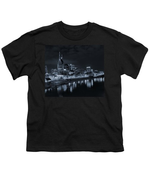 Nashville Skyline At Night Youth T-Shirt by Dan Sproul