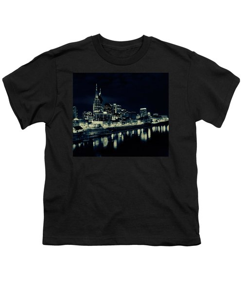 Nashville Skyline Reflected At Night Youth T-Shirt by Dan Sproul