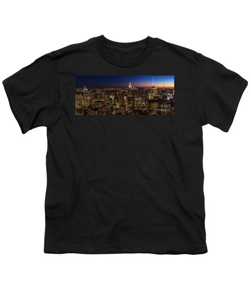 New York City Skyline At Dusk Youth T-Shirt by Mike Reid
