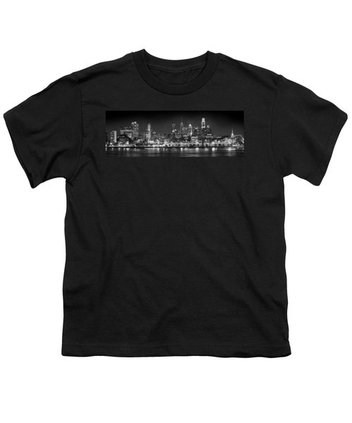 Philadelphia Philly Skyline At Night From East Black And White Bw Youth T-Shirt by Jon Holiday