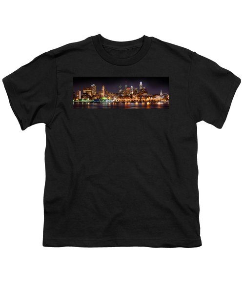 Philadelphia Philly Skyline At Night From East Color Youth T-Shirt by Jon Holiday