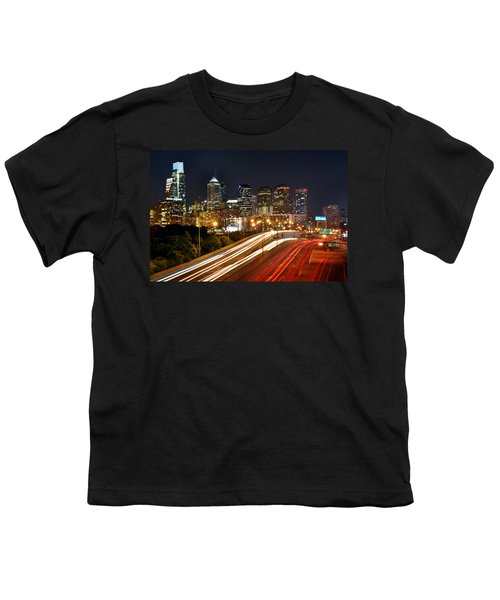 Philadelphia Skyline At Night In Color Car Light Trails Youth T-Shirt by Jon Holiday