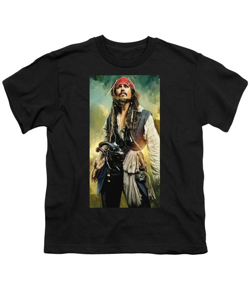 Pirates Of The Caribbean Johnny Depp Artwork 1 Youth T-Shirt by Sheraz A