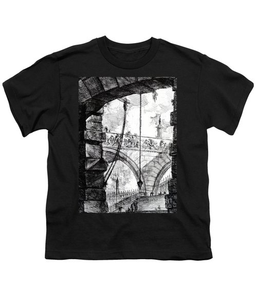 Plate 4 From The Carceri Series Youth T-Shirt by Giovanni Battista Piranesi