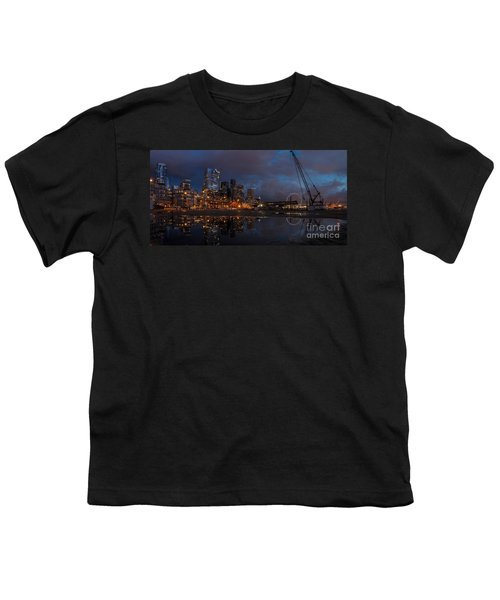 Seattle Night Skyline Youth T-Shirt by Mike Reid