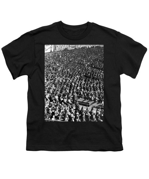 Baseball Fans At Yankee Stadium In New York   Youth T-Shirt by Underwood Archives