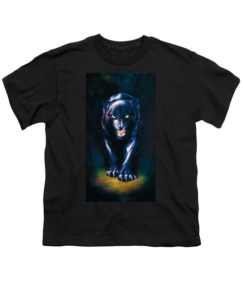 Stalking Panther Youth T-Shirt by Andrew Farley