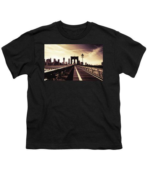 The Brooklyn Bridge - New York City Youth T-Shirt by Vivienne Gucwa