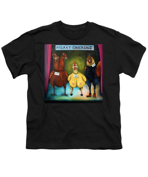 The Freaky Chicken Competition Youth T-Shirt by Leah Saulnier The Painting Maniac