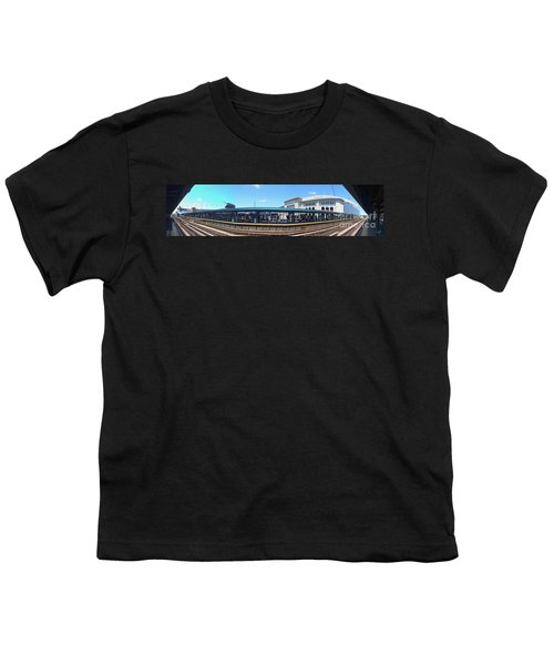 The Old And New Yankee Stadiums Panorama Youth T-Shirt by Nishanth Gopinathan