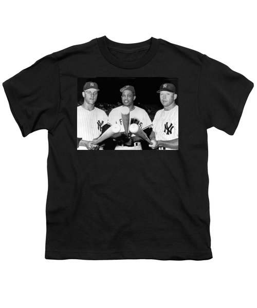 Three Slugging Outfielders Youth T-Shirt by Underwood Archives