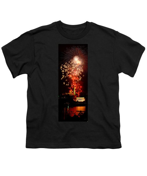 Usa, Washington Dc, Fireworks Youth T-Shirt by Panoramic Images
