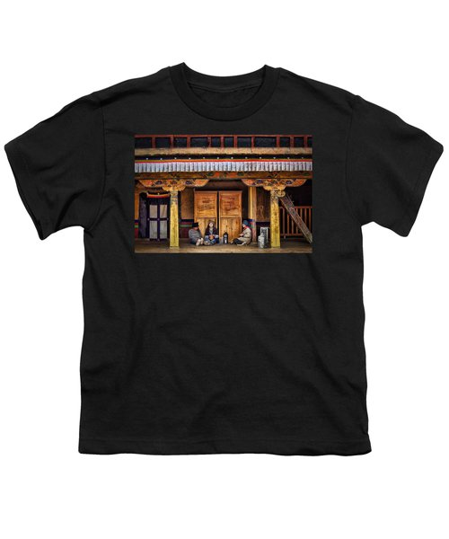 Yak Butter Tea Break At The Potala Palace Youth T-Shirt by Joan Carroll